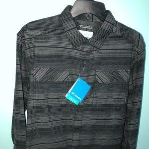 Men's Columbia Gray/Blk Long Sleeve Flannel Shirt